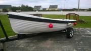 14 ft Fiber Glass Boat & 4 hp Yamaha Engine & Trailer